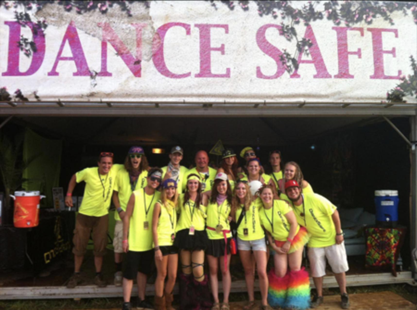 DanceSafe volunteers provide health services.